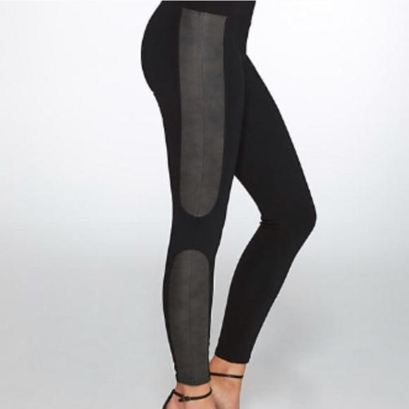 7342593db75b09 SPANX Pants | Nwt Faux Leather Panel Ponte Leggings | Poshmark
